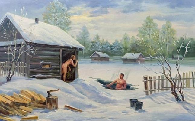 зимняя русская баня
